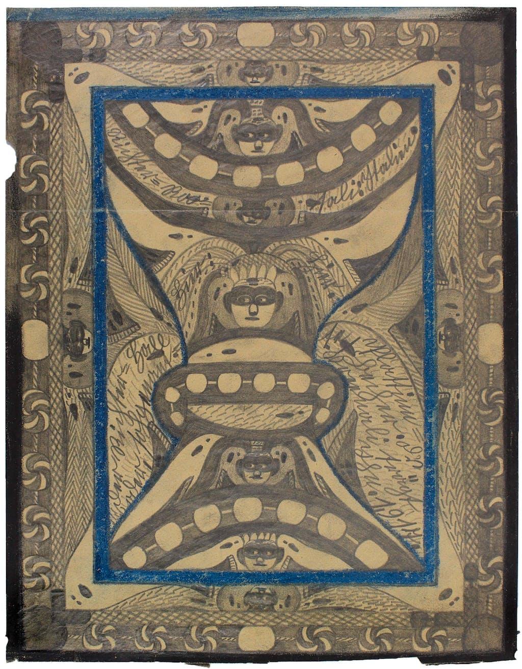 Adolf Wolfli, sans titre (Der Richter-Hall, oder, sogenanntee Plattinn-Becher: D's Vreeneli trägt ihn)  - © christian berst — art brut