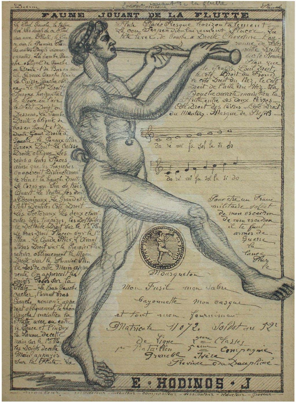 faun playing flute (untitled) - © christian berst — art brut