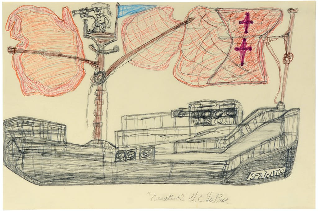 Spain 1720, 1991. coloured pencil on paper, 12.01 x 17.99 in - © christian berst — art brut