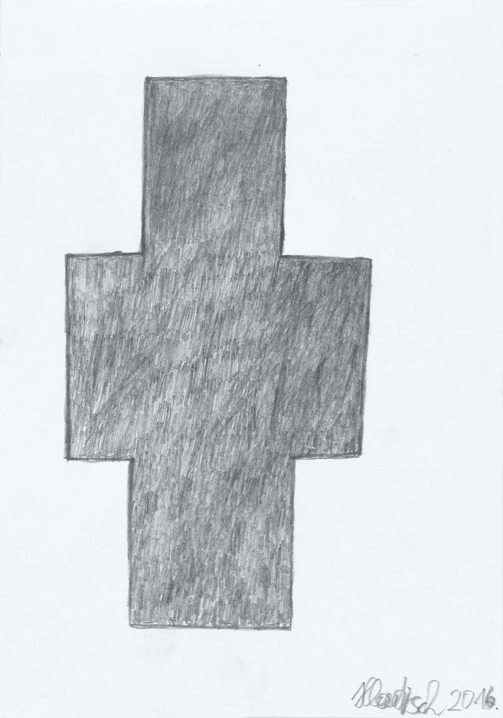 Cross, 2016. graphite sur papier, 21.4 x 15.1 cm - © christian berst — art brut
