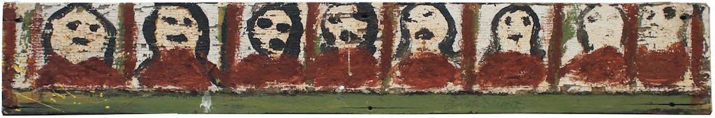 Jimmy Lee Sudduth, sans titre, s.d. acrylique sur bois, 14.4 x 89 cm - © christian berst — art brut