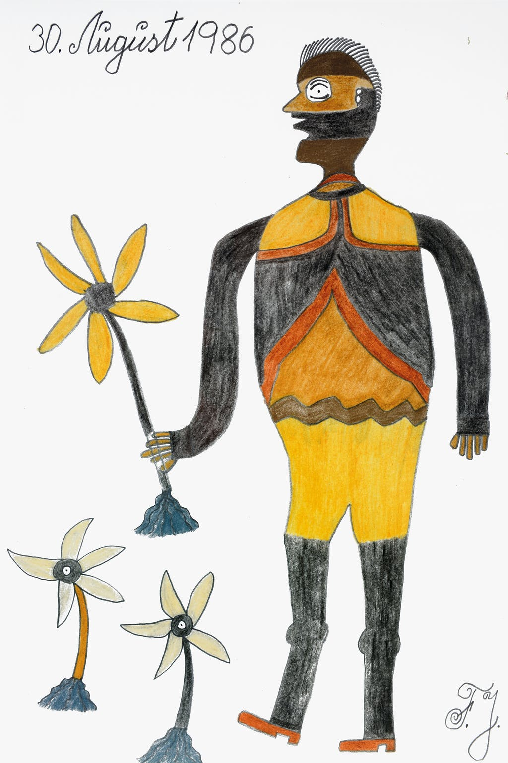 untitled (man with yellow daisy) - © christian berst — art brut