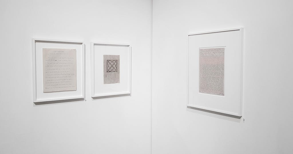 exhibition view of *do the write thing 2: read between the lines*, christian berst art brut, paris, 2018. - © christian berst art brut, christian berst — art brut