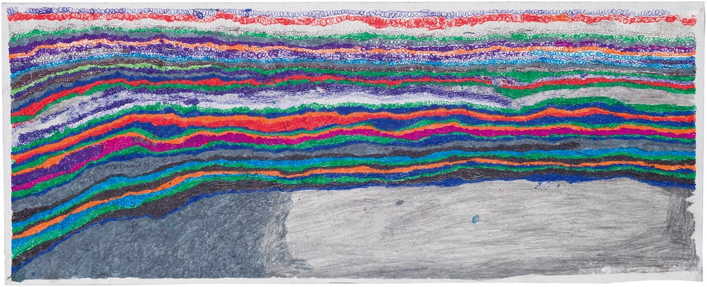 Joseph Lambert, untitled, 2014. mixed media on paper, 11.02 x 27.56 in - © christian berst — art brut