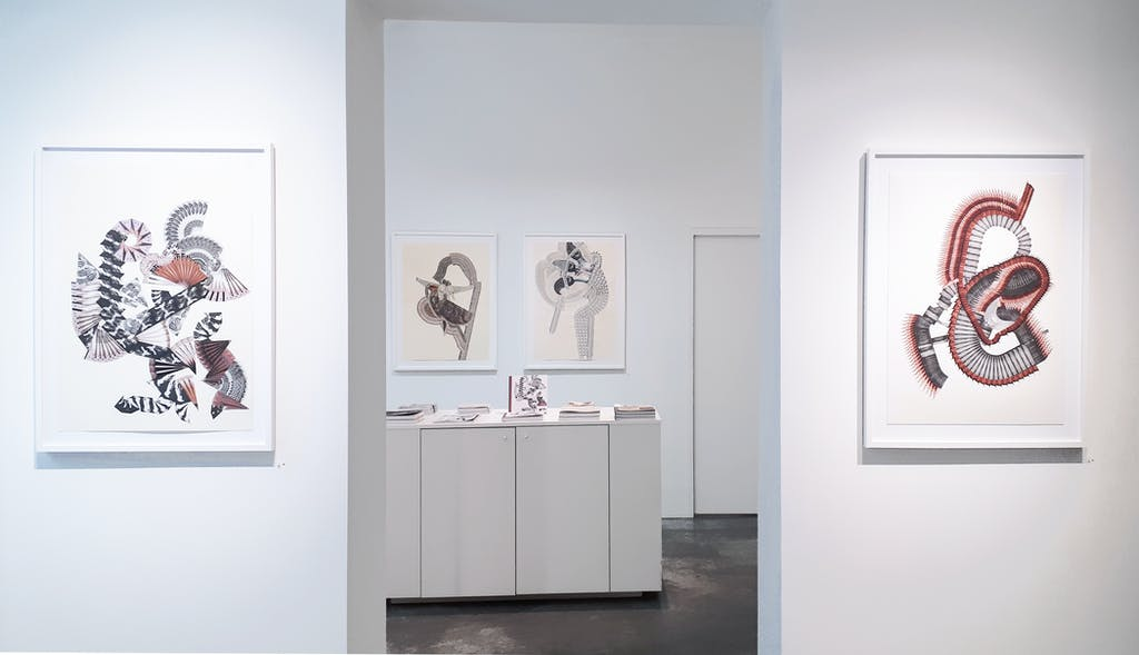 vue de l'exposition *lindsay caldicott : x ray memories*, christian berst art brut, paris, 2018. - © christian berst art brut, christian berst — art brut