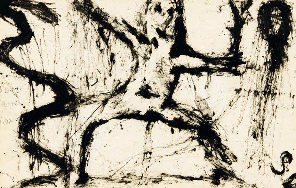 sans dieu je me vide, circa 1935. ink on paper, 12.56 x 19.41 in - © christian berst — art brut