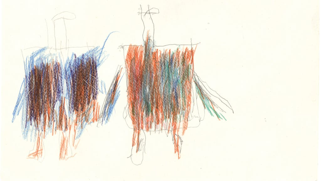 untitled, circa 1980. coloured pencil on paper, 8.27 x 11.81 in - © christian berst — art brut