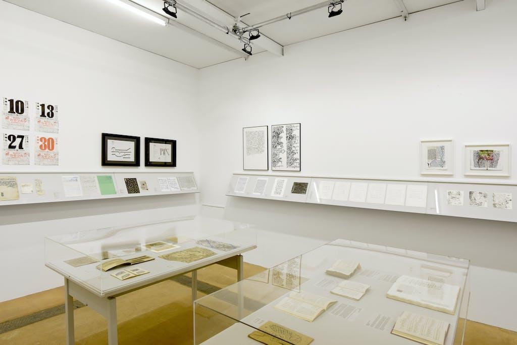 exhibition view of *scrivere designando : when language seeks its other*, contemporary art center, geneva, switzerland, 2020. - © contemporary art center geneva, christian berst — art brut