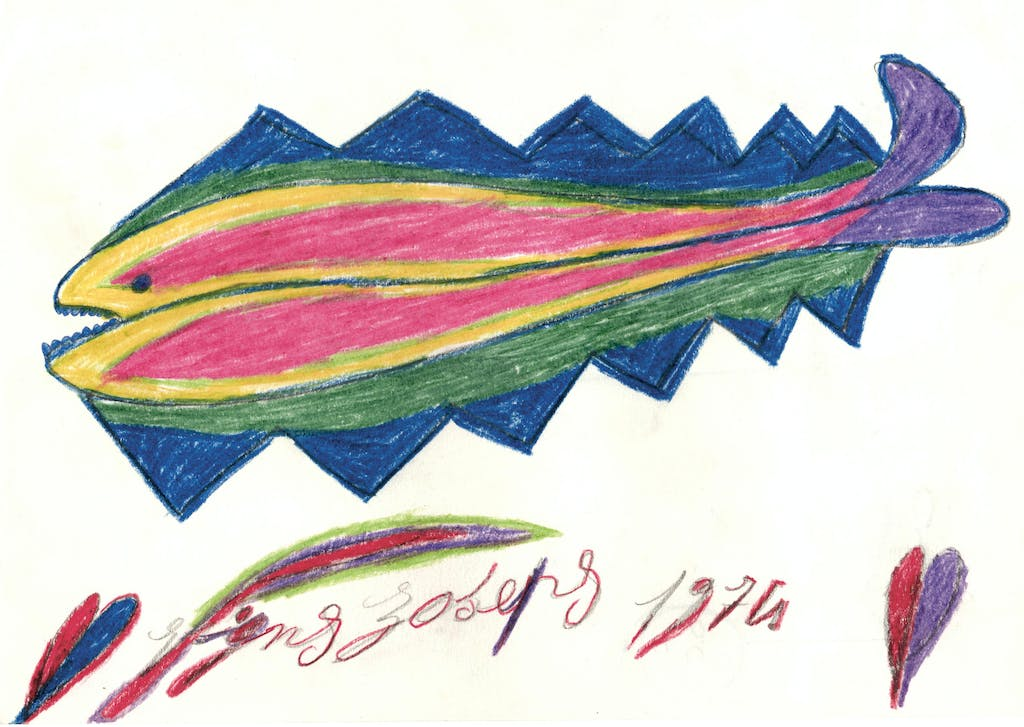 Pépé Vignes, *untitled*, 1974. colored pencil on paper, 8.23 x 11.73 in - © ©christian berst art brut, christian berst — art brut