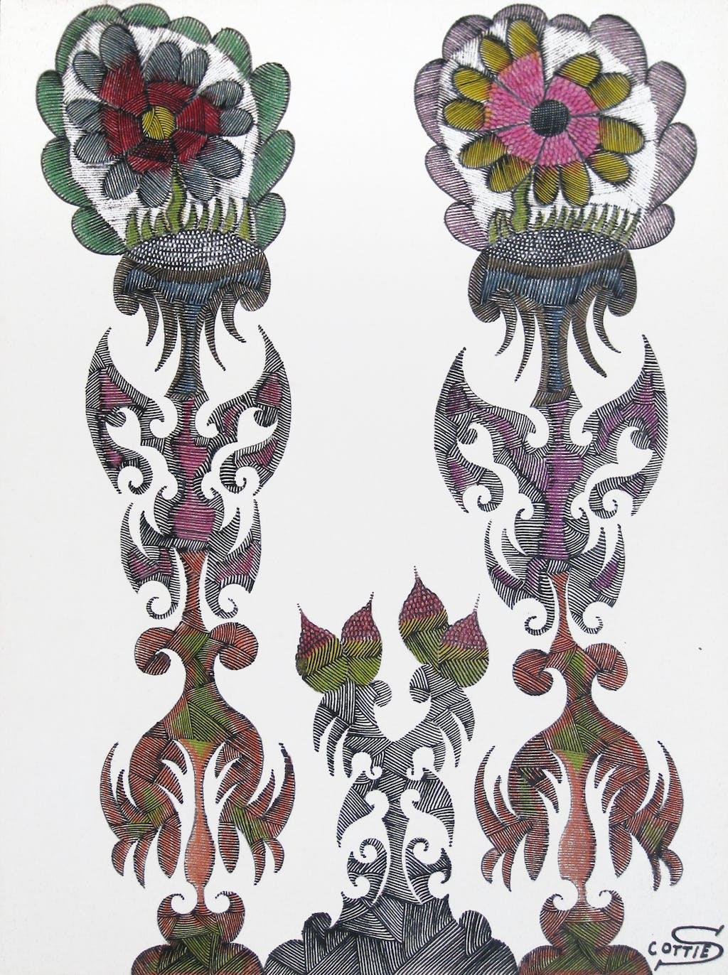 scottie wilson, *s.t. 2 fleurs*, 1944. encre de couleur sur feuille collée sur carton, 38 x 28 cm. - © christian berst art brut, christian berst — art brut