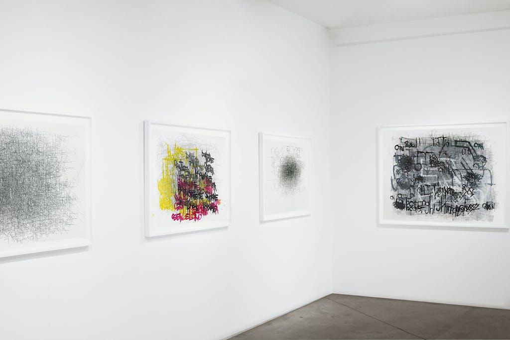 Vue de l'exposition *Dan Miller : graphein II*, christian berst art brut, Paris, 2014. - © christian berst art brut, christian berst — art brut