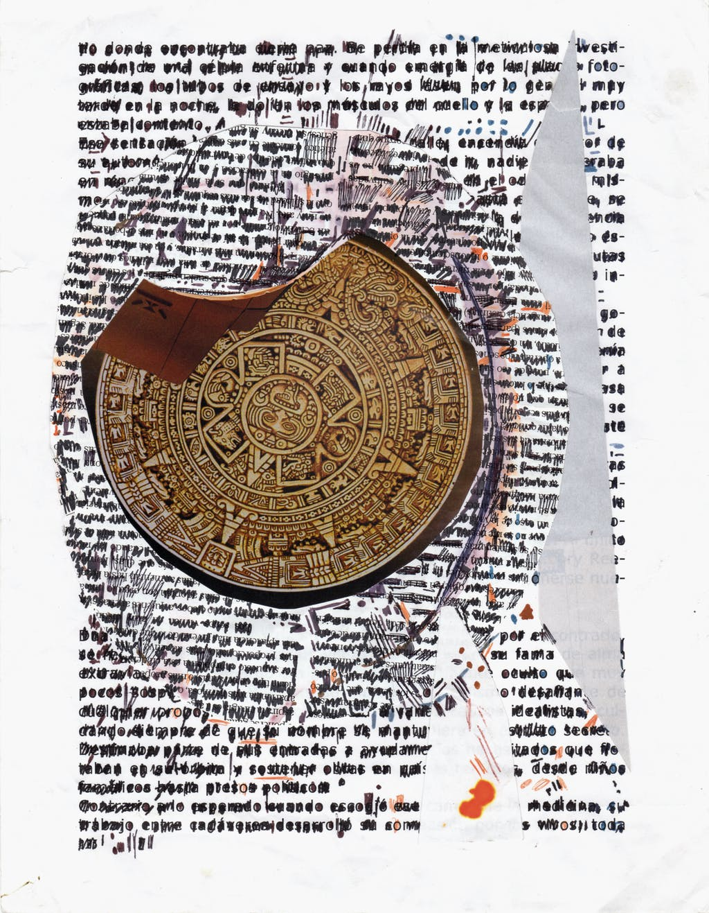 pepe gaitàn, *untitled*, circa 2000. ballpoint pen, ink, collage, photocopy on paper, 11.02 x 8.27 in - © christian berst art brut, christian berst — art brut