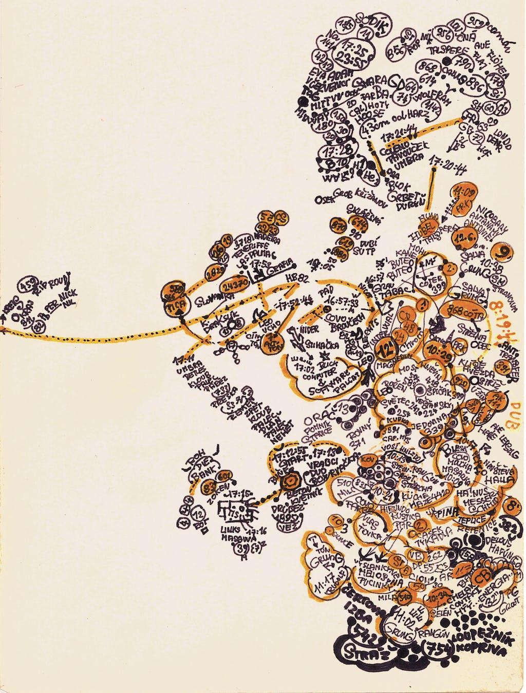 Zdenek Kosek, *sans titre*, circa 1985. encre et marqueur sur papier, 19.3 x 14.7 cm - © christian berst — art brut