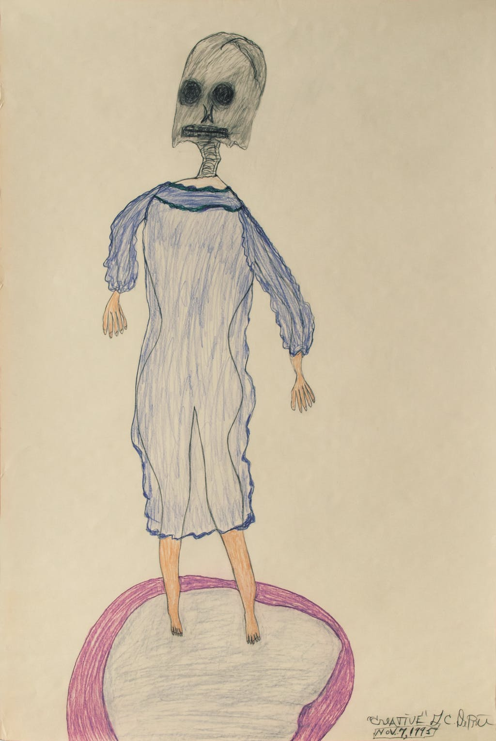 G.C. Deprie, *untitled*, 1995. coloured pencil and graphite on paper, 35.83 x 24.02 in - © christian berst — art brut